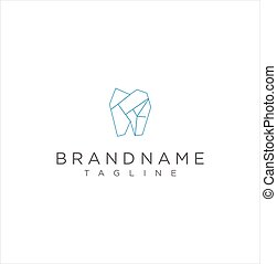 Simple Monogram Dental Health Stylized Tooth Logo Outline Polygon. Monoline Teeth Dental Logo Icon Flat Design