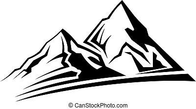 simple, montaña, silueta