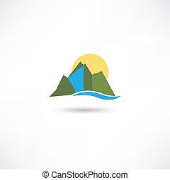 simple, montañas, símbolo