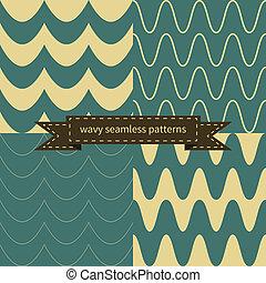 simple, motifs, ondulé, retro, seamless