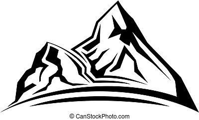 Simple mountain silhouette - Cartoon illustration of the ...