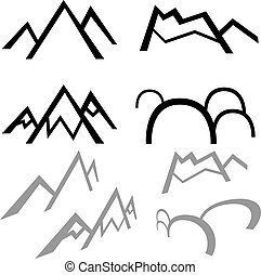 Simple Mountains - Simple mountains isolated on a white...