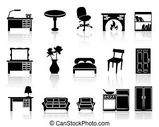simple, muebles, negro, icono