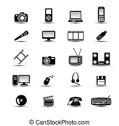 Simple multimedia icons - Set of simple black and white ...