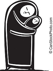 Simple Muslim Mother - Simple expressionistic image of a...