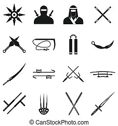 simple, negro, iconos, ninja, conjunto