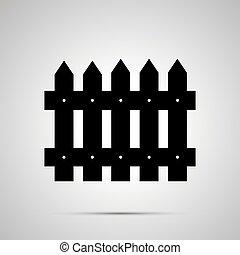 simple, noir, silhouette, barrière, icône