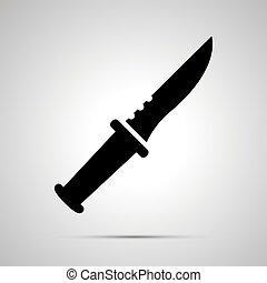 simple, noir, silhouette, icône couteau