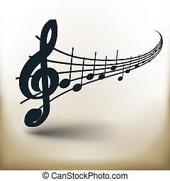 simple, notas, música