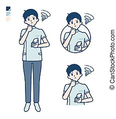 A young nurse man with Holding a smartphone and troubled images. It's vector art so it's easy to edit.