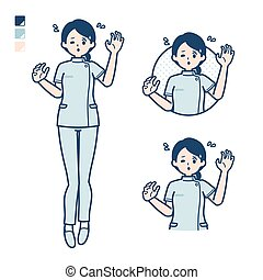 A young nurse woman with panic images.