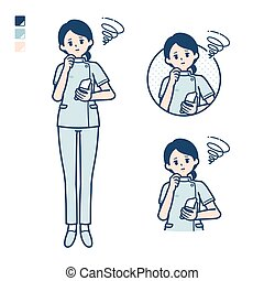 A young nurse woman with Holding a smartphone and troubled images. It's vector art so it's easy to edit.