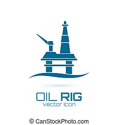 Simple oil rig, conceptual icon