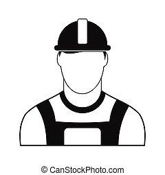 simple, oilman, negro, icono