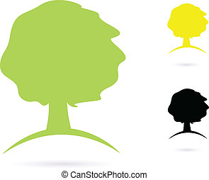 Vector natural strong Tree sign or icon - green, yellow and black