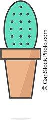 simple, ombre, cactus, icône