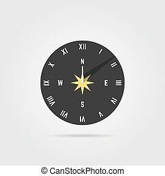 simple, ombre, cadran solaire, icône