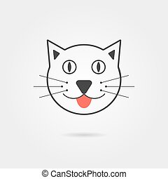 simple, ombre, chat, icône