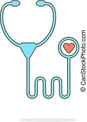 simple, ombre, stéthoscope, icône