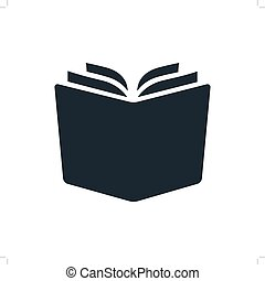 Simple open book vector icon. Single color design element isolated on white. Learning, literacy, school, reading, education, studying concept.