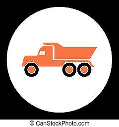 simple orange dump truck car isolated icon eps10