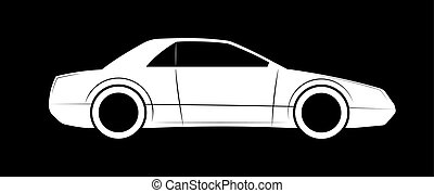 Simple outline of a modern sports car. Auto business logo or emblem.