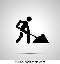 simple, ouvrier, silhouette, noir, route, icône