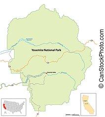 simple overview map of Yosemite National Park, Arizona, USA