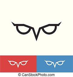 Simple owl eye. Vector logo template