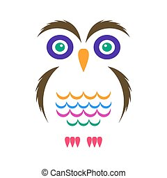Colorful vector cartoon simple owl icon on white
