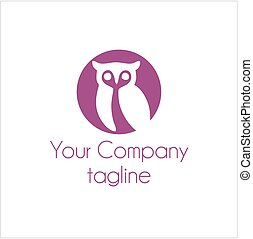 simple owl in circle shape for company vector logo