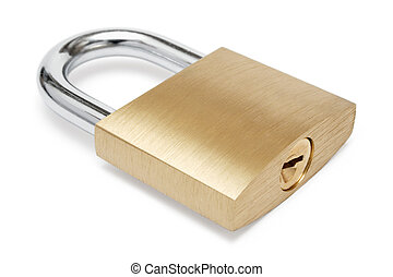 Simple Padlock - Lying padlock isolated on a white...