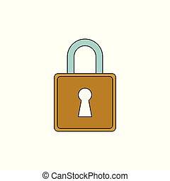 Simple Padlock Vector Outline Icon Illustration