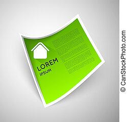 simple, papier, vert, étiquette