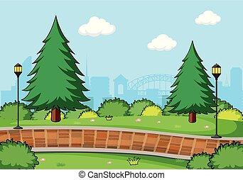 simple, parc, paysage