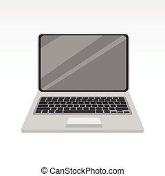 simple, pc, computador portatil, vista delantera