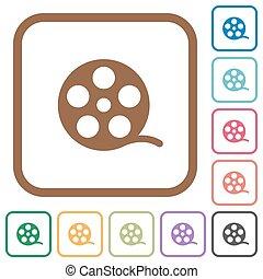 simple, película, rollo, iconos
