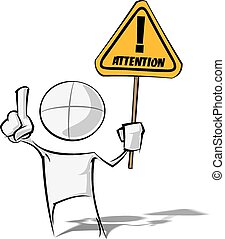 Simple People - Attention - Sparse vector illustration of a...