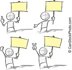 Set of sparse vector illustration of a generic cartoon character holding a placard.
