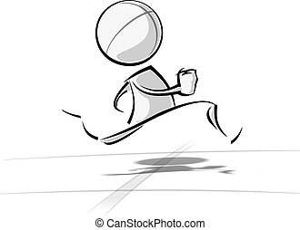 Simple People - Running - Sparse vector illustration of a of...