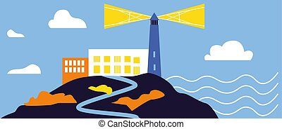 simple, phare, fond blanc, illustration