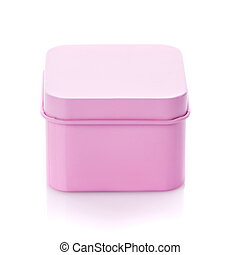 Simple pink gift box isolated on white