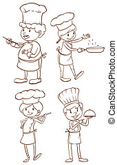 Illustration of the simple plain sketches of the chefs on a white background