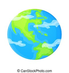 Simple planet Earth vector illustration in flat cartoon style. Global concept.
