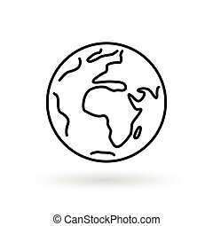 Simple planet icon. Earth sign. World symbol.
