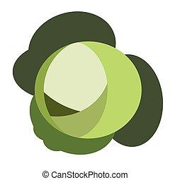 simple, plano, col, verde, ilustración