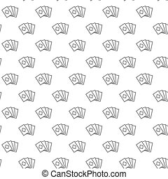 Simple playing and game cards seamless pattern with various icons and symbols on white background flat vector illustration
