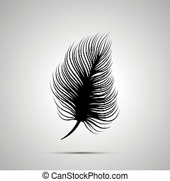simple, plume, noir, silhouette, icône
