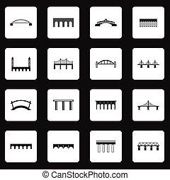simple, pont, style, ensemble, icônes