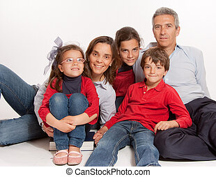simple, portrait, famille